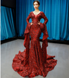 Real Photo Iconic red sequined Pageant Gown