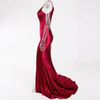 MX179 Sexy one shoulder high split Maxi Dresses(Navy Blue/Burgundy)