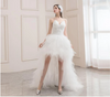SS97 Sexy strapless feather high low wedding dress