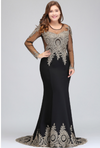 PP211 Plus Size gold embroidery mermaid Evening Dresses(6 Colors)