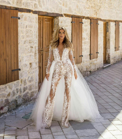 PD36 Sexy Illusion Wedding Jumpsuit with Detachable Train