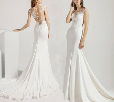 Simple Soft Satin Mermaid Wedding Dress with court train