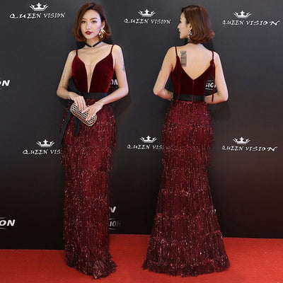 PP221 Spaghetti Strap Sequins Tassel Red Carpet Dresses(4 Colors)