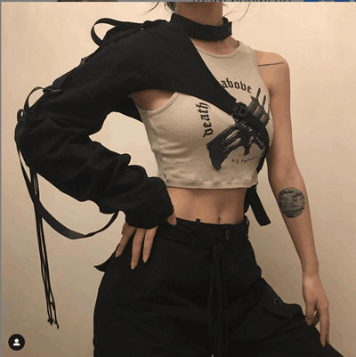 TJ87 Kpop one sleeve crops (Black/White)