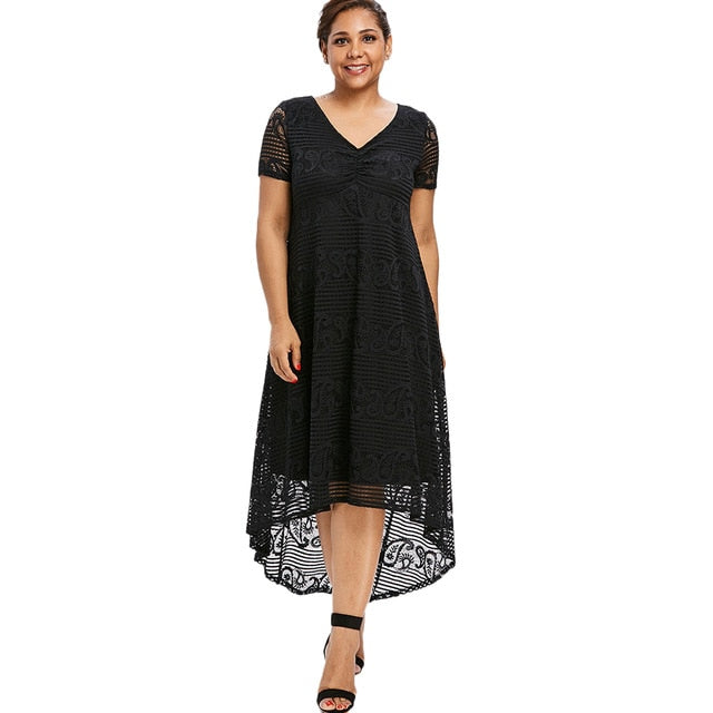 Summer Plus Size V-Neck Lace Dresses (Black/White)