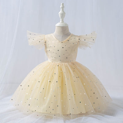 FG403 : Sequined Stars Princess Girl Dresses ( 4 Colors )