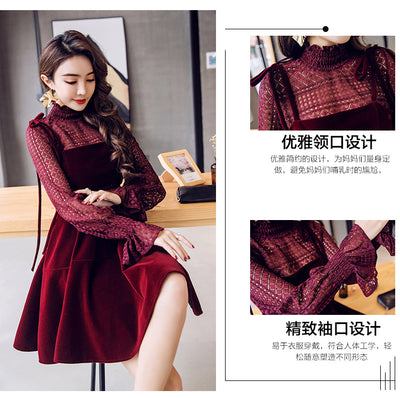 MX27 Burgundy Korean Puff Sleeve Dresses