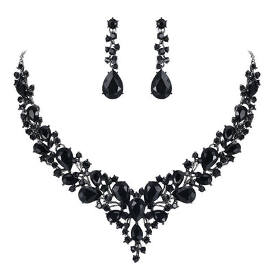 BJ81 Bridal Jewelry Set Necklace+Earrings(7 Colors)