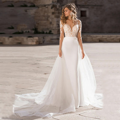 Elegant Lace Appliques Boho Wedding Dress