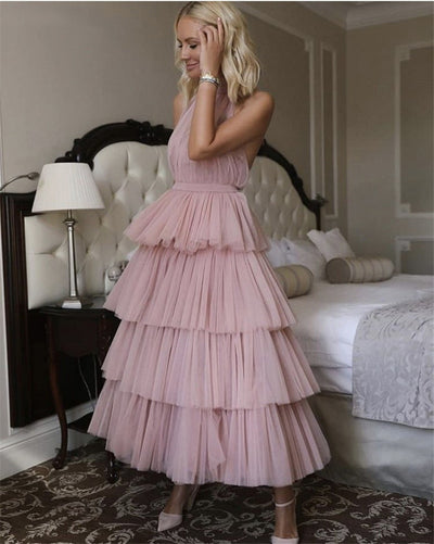 PP338 Tulle Tiered Ankle Length Evening Dresses ( Custom Colors)