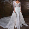 Long sleeves beading mermaid Wedding Gowns with detachable skirt