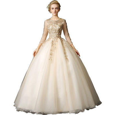 CG76 Gold 3/4 sleeves with lace appliques Quinceanera Dress