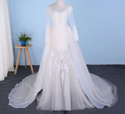 CW194 : Real sample photo 2in1 mermaid wedding dress with detachable