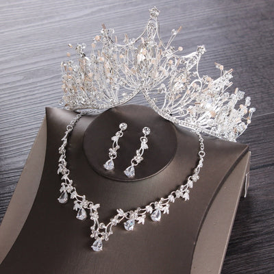 BJ93 Silver Wedding Jewelry sets (Tiara+Necklace+Earrings)
