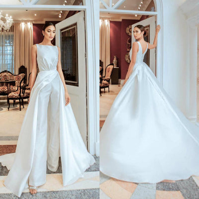 PD38 Classy satin Wedding jumpsuit with overskirt