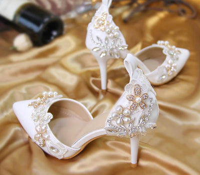 BS01 Pearl Flower Bridal Shoes