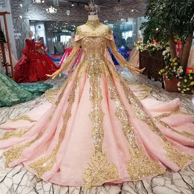 CG180 Luxury Pink High Collar sequined Wedding Dresses