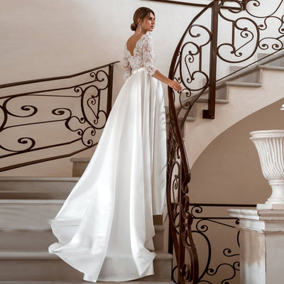 CW443 : 3/4 sleeves Boho Wedding Dress