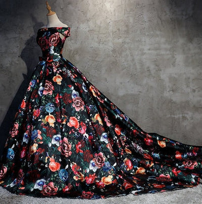 CG178 Off the shoulder Floral print Prom Ball Gown with train