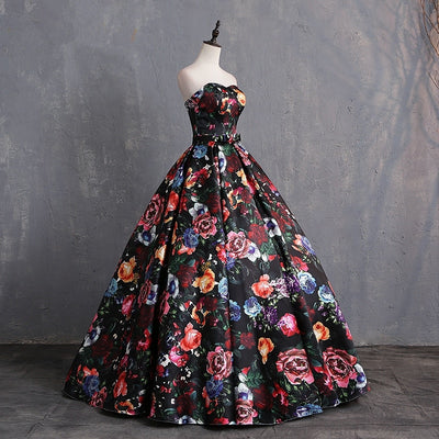 CG177 Floral Print Strapless Prom Ball Gowns