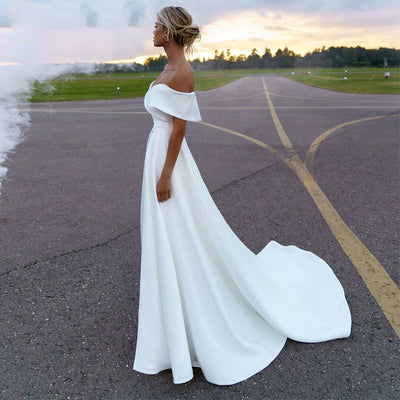 CW453 Simple mermaid Wedding dress With Detachable Skirt
