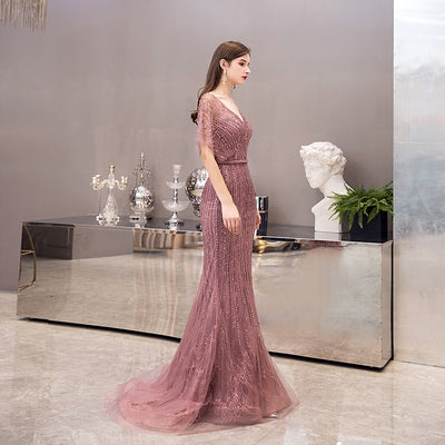 Couture Heavy Beaded purple Evening Dresses