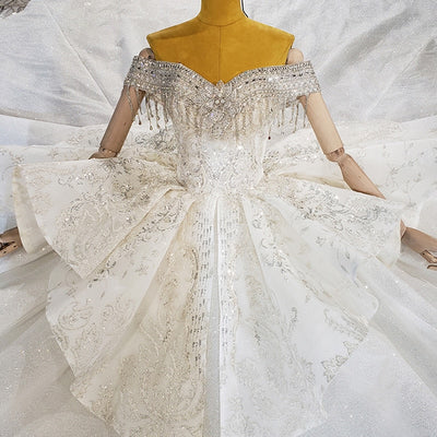 Real pictures Short Sleeve Crystal Beading Sequined Wedding Gown