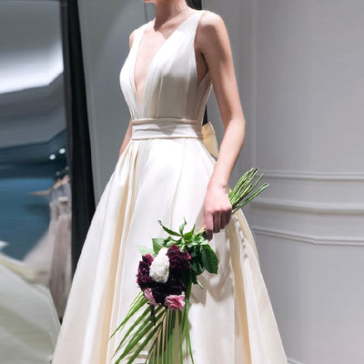 CW439 Deep V-Neck Simple Satin Wedding Dress With Bow Back