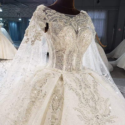Real Pictures : Handmade sequined beading Wedding gown with cape