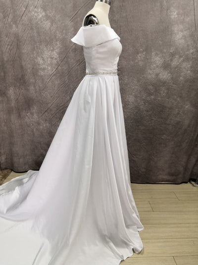 CW444 Minimal Satin Off The Shoulder Wedding Dress with Sash