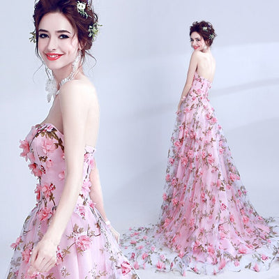 BH241 Strapless 3d Floral Beaded Homecoming Dress