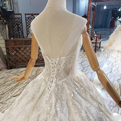Real Photo O-Neck Crystal Sequined Beading Wedding Dress