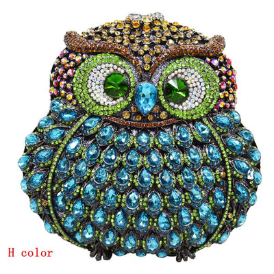 CB19 Owl Shaped  bags Crystal Clutch Bags (8 Colors)