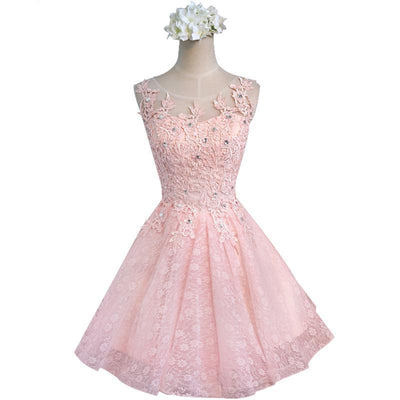 BH18 Sweet Lace Bridesmaid Dresses (pink/Champagne)
