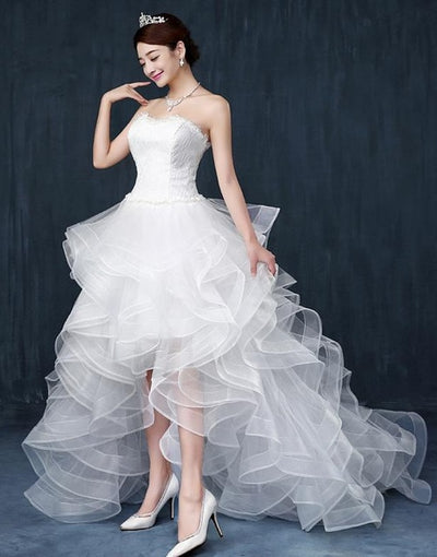 PLUS SIZE SHORT FRONT LONG BACK WITH TAIL WEDDING DRESS
