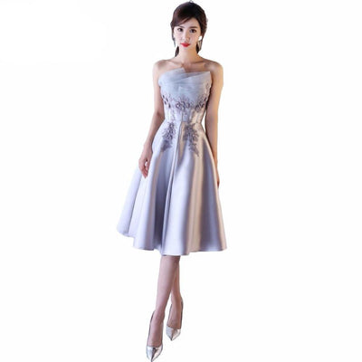 BH100 Satin Strapless Bridesmaid dresses (3 Colors)