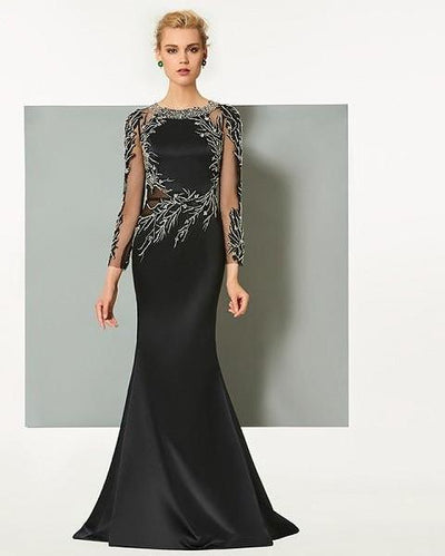Elegant Black sheer sleeve Evening Dress
