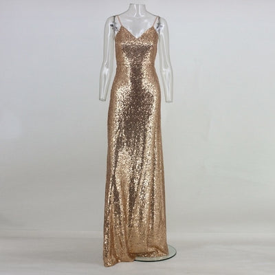 Sexy Backless Glitter Party Dresses