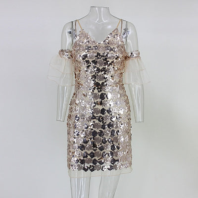 MX55 Spaghetti Strap loose sleeve Sequin Party Dress (3 Colors)