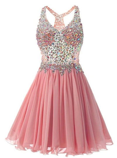 PP03 V neck Crystals beaded Prom Dresses (11 Colors)