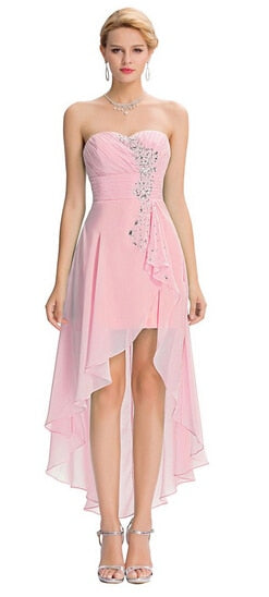 BH40 Short Front Long Back Bridesmaid Dress(3 Colors)