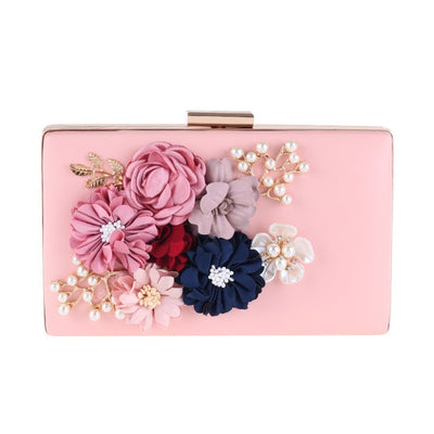 CB47 Single Side Flower Ladies Clutch Bags (White/Pink)