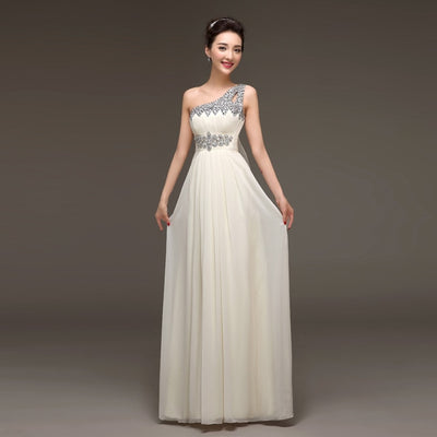 PP72 One Shoulder Crystals Beaded Prom Dresses(10 Colors)