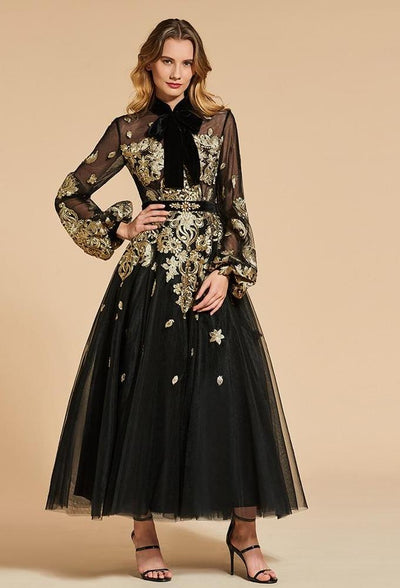 Black Long sleeve with gold embroidery ankle-length Evening Dress