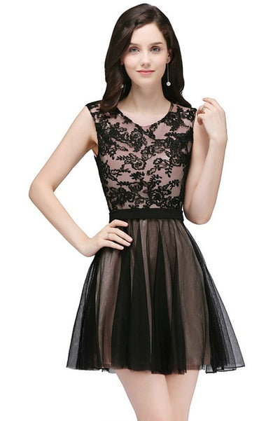 Lace Appliques Homecoming Dresses (3 Colors)