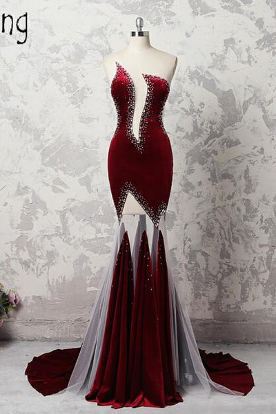 Sexy Burgundy see through Evening Gown