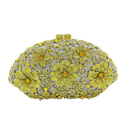 CB23 Dazzling Flower Crystal Evening Clutch Bags ( 8 Colors)
