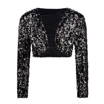 TJ81 Sparkly Sequin Short Jacket for Party (6 Colors)