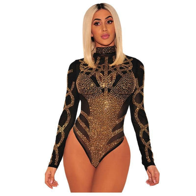 JR31 Sexy Black Gold Rhinestone Long Sleeves  Bodysuit