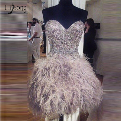 LG02 Luxury Crystal Feather Short Cocktail Dresses